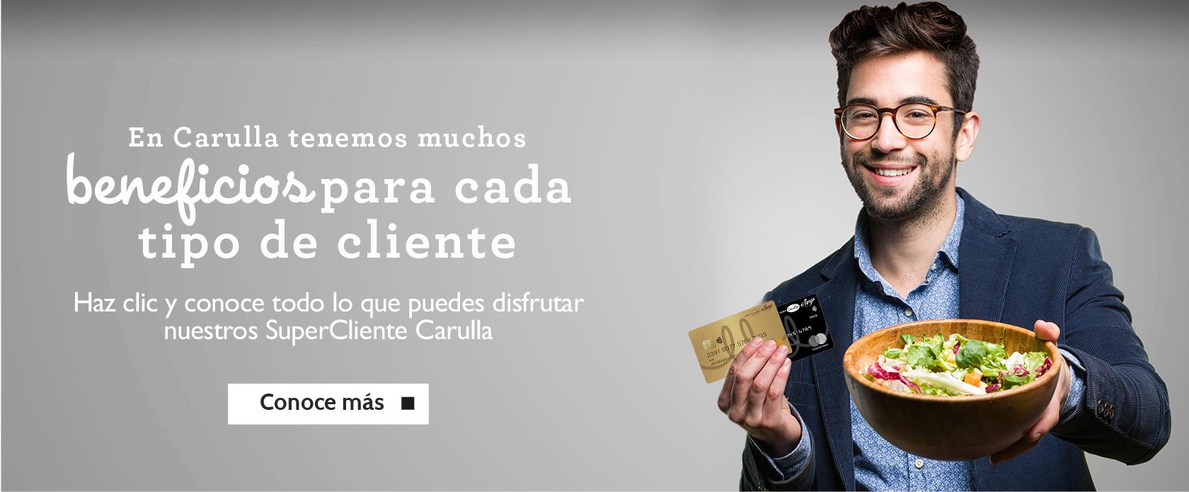 Descubre todos los beneficios que tenemos para ti en Super Cliente Carulla. Disfruta de Cocina de mercado, Puntos Colombia y muchos más.